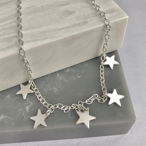 Sterling Silver 5 Star Necklace