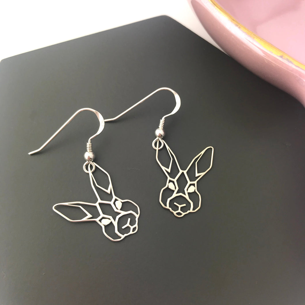 Sterling Silver Geometric Rabbit Earrings