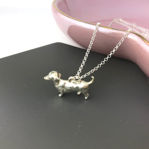 Sterling Silver Dachshund Sausage Dog Necklace