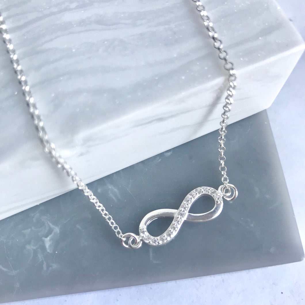 Sterling Silver Sparkly Infinity Necklace