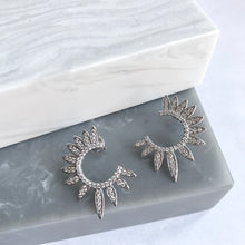 Sterling Silver Starburst Crystal Earrings