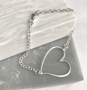 Sterling Silver Open Heart Bracelet