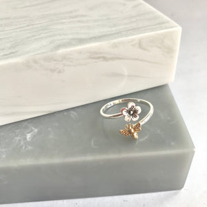 Sterling Silver Flower And Bronze Bee Ring