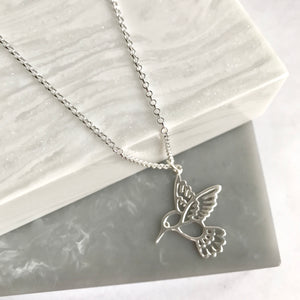 Sterling Silver Large Hummingbird Necklace
