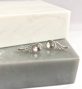 Sterling Silver Crystal Wing Earrings