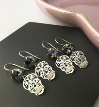 Sterling Silver Crystal Skull Earrings