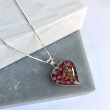 Sterling Silver & Heather Heart Necklace