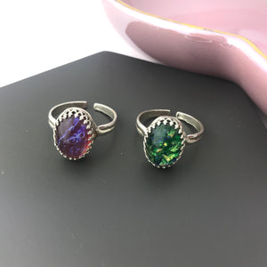 sterling silver adjustable glass opal ring