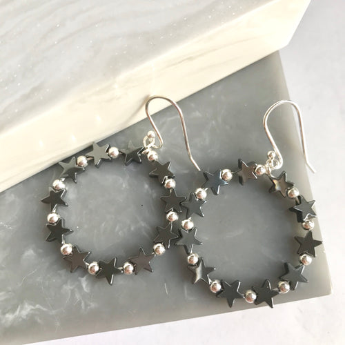 Sterling Silver And Hematite Star Bead Earrings