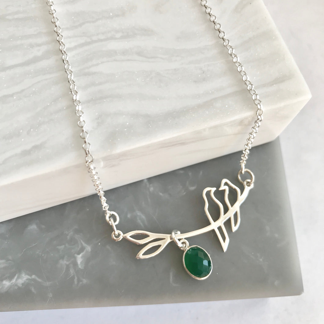 Sterling Silver Bird Branch Necklace