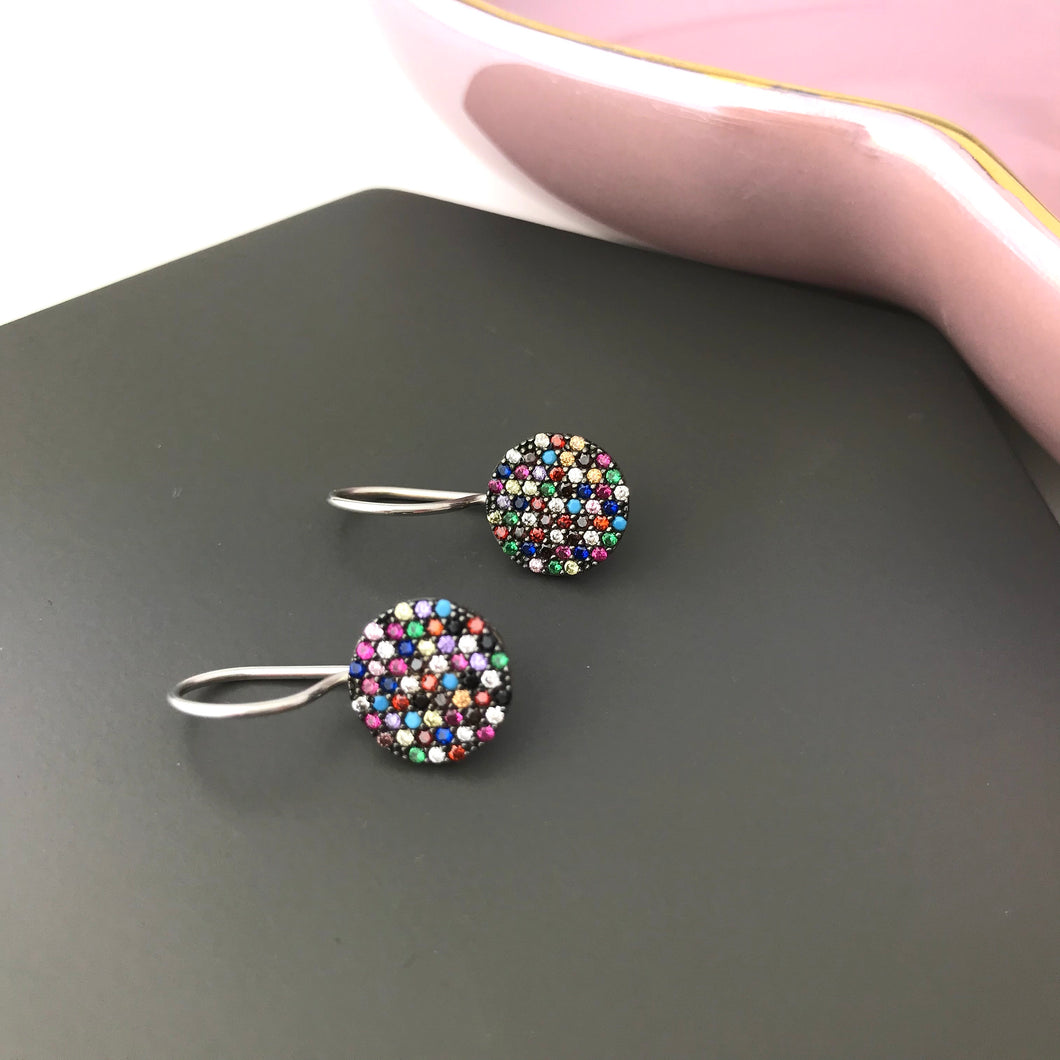 Sterling silver multi coloured rainbow crystal earrings