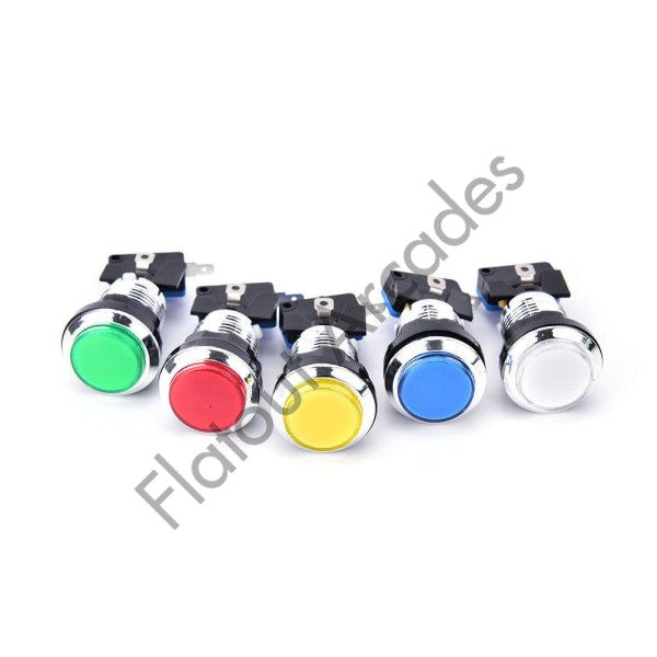 Chrome Illuminated Button - Flatout Arcades