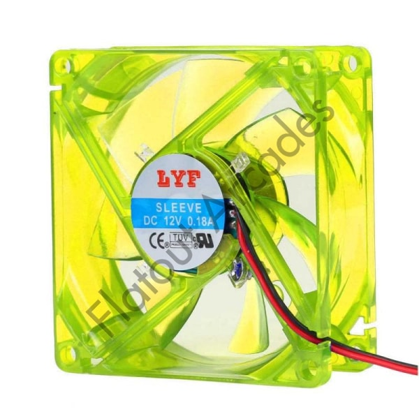 Yellow 80MM LED PC Cooling Fan - Flatout Arcades