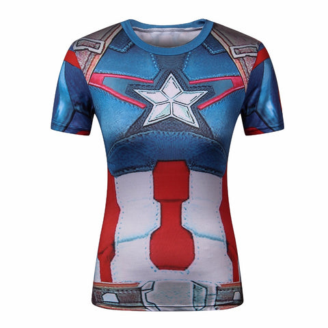 Captain America Women's Compression T Shirt - DC Marvel World