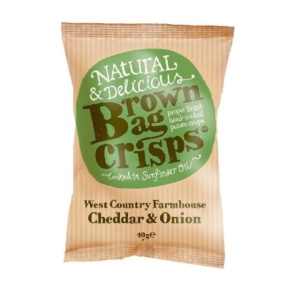 Brown Bag Crisps West Country & Farmhouse Cheddar & Onion Gluten Free
