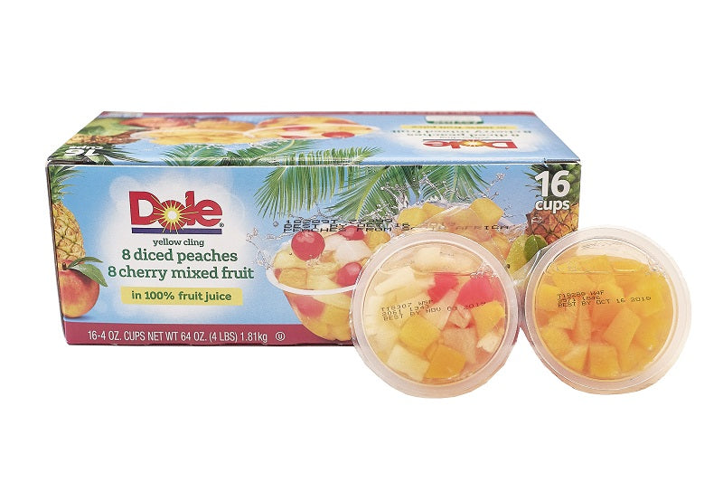 Yellow Cling 8 Diced Peaches 8 Cherry Mixed Fruit in 100% Fruit Juice