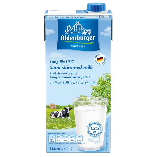 Oldenburger UHT Milk 1.5% Fat - 1LTR