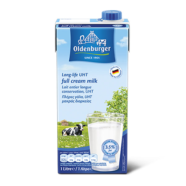 Fresh Full Cream UHT Milk 3.5% Fat 1L - Oldenburger (Pkt)