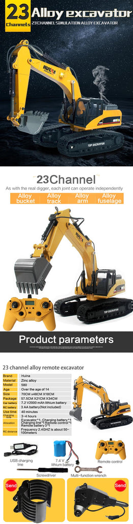 Loader 1583 + Metal Excavator 1580 + Dump Truck 1573 HuINa Package - RC Toy Sellers - HuIna