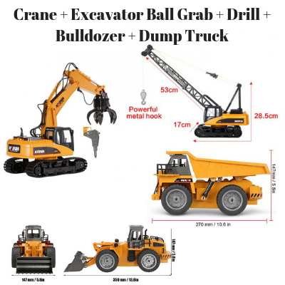 Crane + Excavator ball grab + drill, Bulldozer + Dump Truck HuINa Package