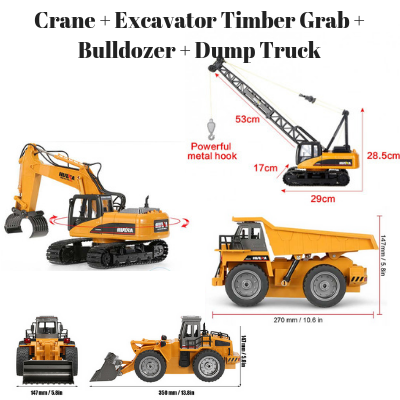 Crane + Excavator Timber Grab + Bulldozer + Dump Truck HuINa Package