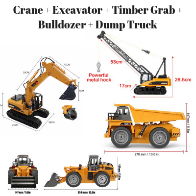 Crane + Excavator bucket & timber grab + Bulldozer + Dump Truck HuINa Package - RC Toy Sellers - HuIna