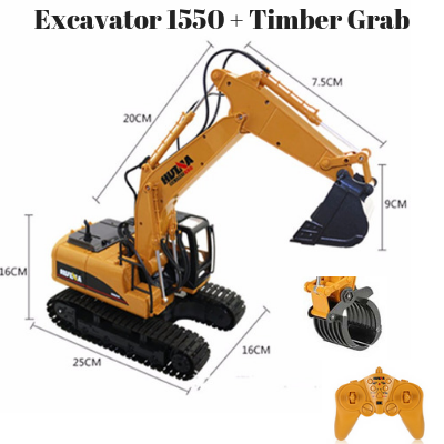 Excavator 1550 Bucket + Timber Grab Attachment 1550-1570