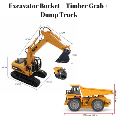 Excavator Bucket + Timber Grab Attachment + Dump Truck HuINa Package - RC Toy Sellers - HuIna