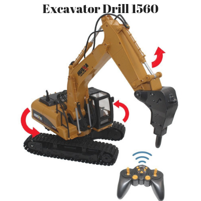 Excavator Drill Attachment - HuINa Remote Controlled 1560 - RC Toy Sellers - HuIna