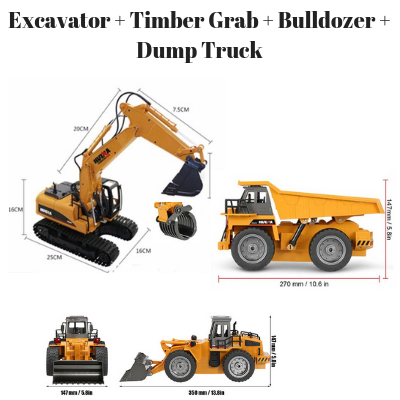 Excavator + Timber Grab + Bulldozer + Dump Truck HuINa Package - RC Toy Sellers - HuIna