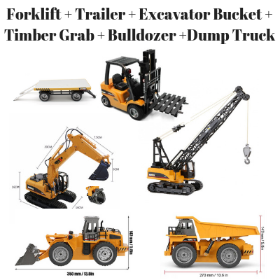 Image of Forklift + Trailer + Crane + Excavator Bucket with Timber Grab + Bulldozer + Dump Truck HuINa Package - RC Toy Sellers - HuIna