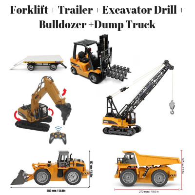 Image of Forklift + Trailer + Crane + Excavator Drill + Bulldozer + Dump Truck HuINa Package