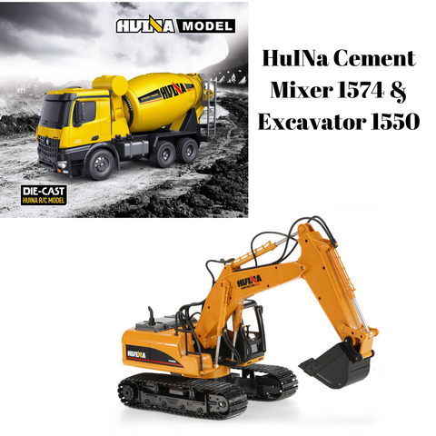 Cement Mixer 1574 & Excavator 1550 HuINa Package - RC Toy Sellers
