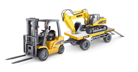 Image of Forklift + Trailer + Crane + Excavator Timber Grab + Bulldozer + Dump Truck HuINa Package - RC Toy Sellers - HuIna