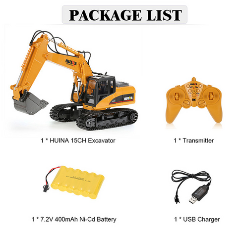 Excavator 1550 Bucket + Timber Grab Attachment 1550-1570 - RC Toy Sellers - HuIna