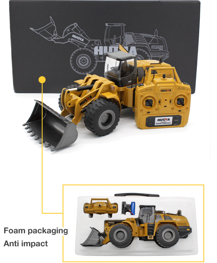 HuIna 1583 10 Channel Metal RC Wheeled Loader - RCToysellers
