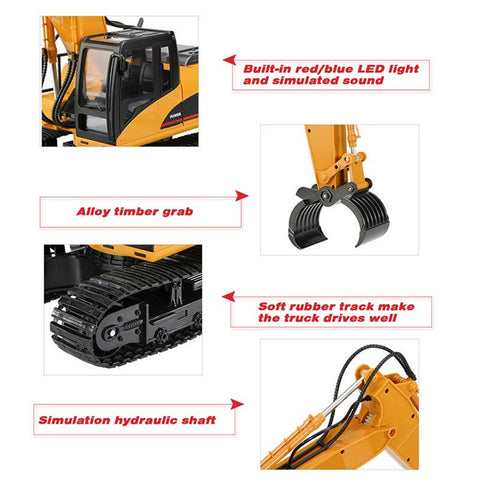 Image of Excavator 1550 Bucket + Timber Grab Attachment 1550-1570 - RC Toy Sellers - HuIna