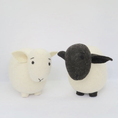 2 Sheep White & Black Faces