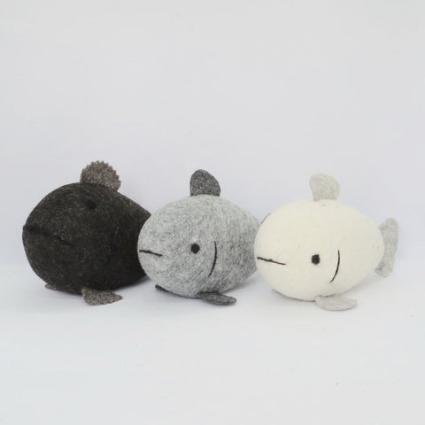 3 Natural Wool Fish (Set 2)