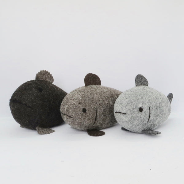 3 Natural Wool Fish (Set 1)