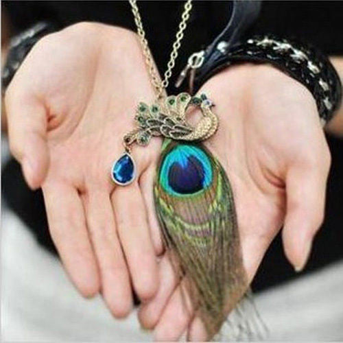 Crystal Rhinestone Peacock With Feather Bag Charm