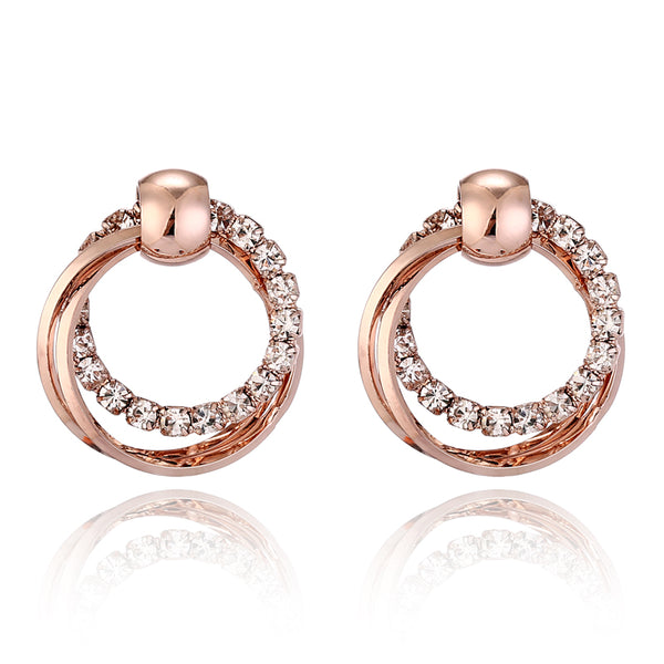 Double Round Rhinestone Gold Color Earring