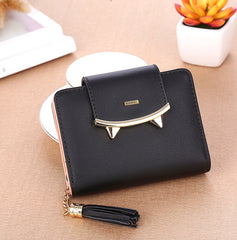 Mini Sharp Tooth Design Black Wallet