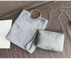 Faux Fur Grey Fold Handbag Set
