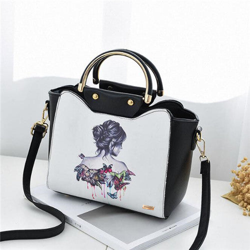 Black and White Designer Handbag ( Printed Lady Design )