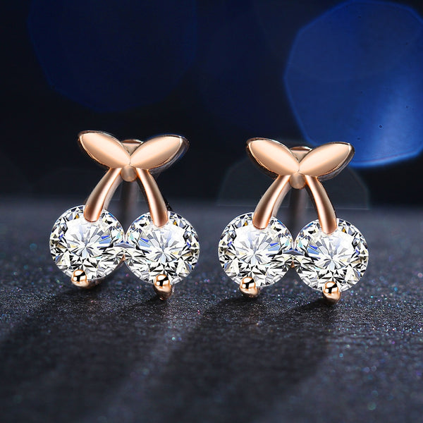 Cherry Shaped Gold Color Earrings