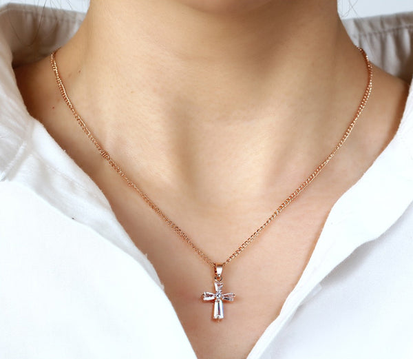 Rose Gold Color Zirconia Cross Pendant Necklace
