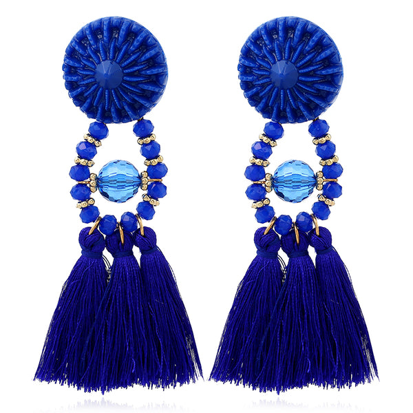 Drop Dangle Vintage Blue Tassel Earring