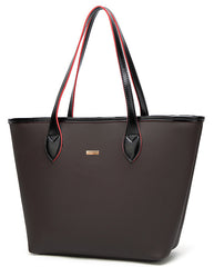 Large Oversized Brown Tote Bag with Zippers