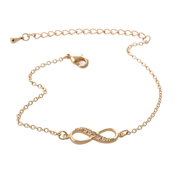 Infinity Gold Bracelet with Crystal Stones